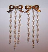 Style Jewelry - Bow And Pearl Earrings by Kimberly Stephenson
