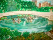 Park Scene Paintings - Bow Bridge Central Park by Felix Zapata