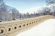 Olia Saunders Metal Prints - Bow Bridge in Winter the Central Park New York Metal Print by Design Remix