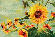 Yellow And Orange Sunflower Prints - Bow Down Print by Jen Norton