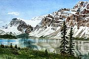Mountains Painting Posters - Bow Lake Alberta No.2 Poster by Debbie Homewood