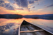 Y120817 Art - Bow Of Canoe On Lake At Sunset by Matt Champlin