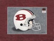 High School Sports Prints - Bowdon Red Devils Helmet Print by Herb Strobino