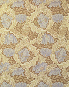 Floral Tapestries - Textiles Metal Prints - Bower Wallpaper Design Metal Print by William Morris