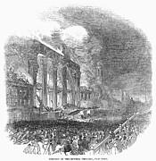 Bowery Framed Prints - Bowery Theatre Fire, 1845 Framed Print by Granger