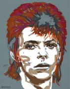 Icon Drawings Posters - Bowie as Ziggy Poster by Suzanne Gee