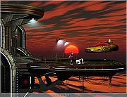 Sci-fi Picture Framed Prints - Bowing Bot Framed Print by Jim Coe