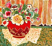 Diane Fine Mixed Media Prints - Bowl and Blossoms Print by Diane Fine