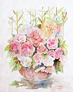 Pink Rose Posters - Bowl Full Of Roses Poster by Arline Wagner