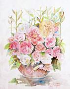 Bowl Full Of Roses Print by Arline Wagner