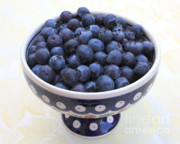 Blue Bowl Posters - Bowl of Blueberries Poster by Carol Groenen
