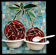 Bowl Glass Art - Bowl of Cherries by Diane Morizio
