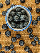 Linens Prints - Bowl of Fresh Blueberries Print by Jill Battaglia