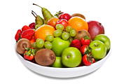 Kiwi Posters - Bowl of fresh fruit isolated on white Poster by Richard Thomas