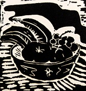 Food And Beverage Reliefs Posters - Bowl of Fruit Lino Print Poster by Caroline Street
