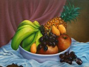 Bananas Paintings - Bowl of Fruit Oil Painting by Evelyn Sichrovsky