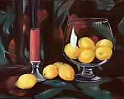Candle Holder Framed Prints - Bowl of Lemons Framed Print by Carol Sweetwood