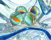 Green Drawings Originals - Bowl of Marbles by Carla Kurt
