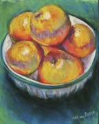 Oranges Drawings - Bowl of Oranges by Hillary Gross