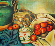Ceramic Drawings - Bowl of Peaches by Joe McGinnis