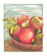 Food And Beverage Mixed Media Originals - Bowl of Pomegranates by Terry Taylor