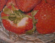 Fruit Drawings Posters - Bowl Of Strawberries Poster by Crispin  Delgado