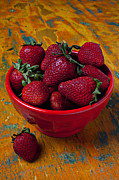 Bowls Framed Prints - Bowl of strawberries  Framed Print by Garry Gay