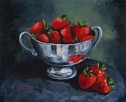 Silver Bowl Posters - Bowl of Strawberries  Poster by Torrie Smiley