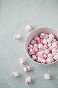 Pink White Framed Prints - Bowl Of Sweets Framed Print by Elin Enger