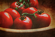Wooden Bowl Framed Prints - Bowl of tomatoes Framed Print by Toni Hopper