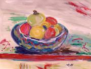 Primitive Drawings - Bowl on a Red Edge by Mary Carol Williams