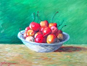 Impasto Oil Prints - Bowl With Rainier Cherries Print by Dan Haraga