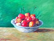 Bowl With Rainier Cherries Print by Dan Haraga