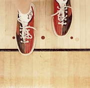 High Stepping Framed Prints - Bowler With Bowling Shoes Stepping Over Foul Line Framed Print by Sylvia Serrado