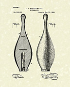 Indoor Sport Posters - Bowling Pin 1895 Patent Art Poster by Prior Art Design
