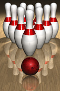 Bowling Alley Prints - Bowling Pins And Ball Print by Jose Luis Stephens