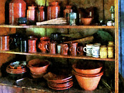 Pantries Photos - Bowls and Cups in Pantry by Susan Savad
