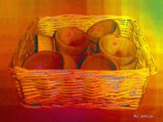Wooden Bowls Digital Art Prints - Bowls in Basket Moderne Print by RC DeWinter