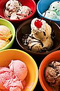 Treats Prints - Bowls of different flavor ice creams Print by Garry Gay