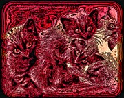 Kitten Prints Digital Art Framed Prints - Box full of Kittens Framed Print by Tisha McGee