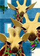 Giraffes Framed Prints - Box Lunch Framed Print by Tom Dickson