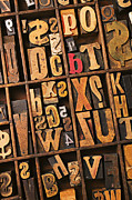 Question Mark Posters - Box of old wooden type setting blocks Poster by Garry Gay