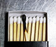Steel Photos - Box Of Wooden Matches With One Burned Match. by Ballyscanlon