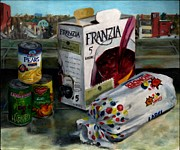 Cans Paintings - Box wine with bread no. 1 by Thomas Weeks