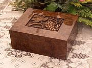 Woodcarving Reliefs Originals - Box with grapes by Zoran Kostovski