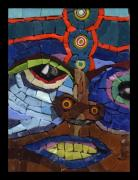 Mosaic Glass Art Posters - Boxer - Fantasy Face No. 9 Poster by Gila Rayberg