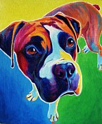 Boxer Portrait Paintings - Boxer - Leo by Alicia VanNoy Call