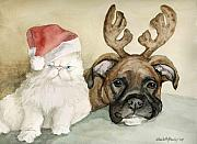Boxer Painting Prints - Boxer and Persian Cat Christmas Print by Charlotte Yealey