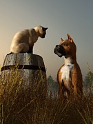 Animals Tapestries Textiles Posters - Boxer and Siamese Poster by Daniel Eskridge
