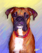Boxer Dog Digital Art Metal Prints - Boxer Beauty Metal Print by Karen Derrico
